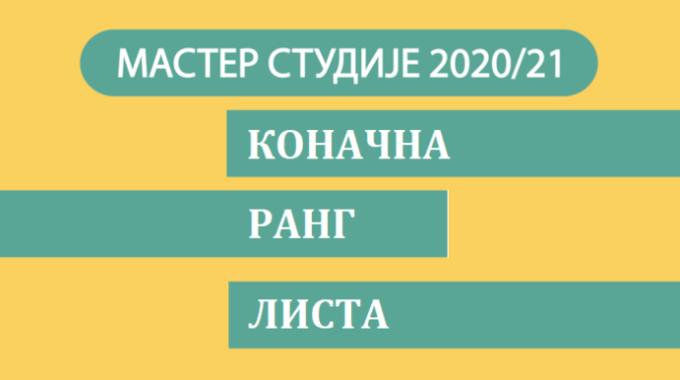 Коначна ранг листа – Мастер студије академска 2020/21. година